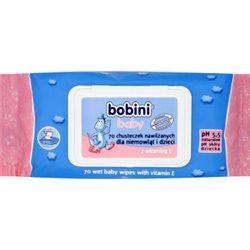 Bobini Baby Chusteczki nawilżane dla niemowląt i dzieci z witaminą E 70 sztuk