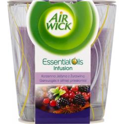 Air Wick Essential Oils Infusion Świeczka o zapachu korzennej jeżyny z żurawiną 105 g