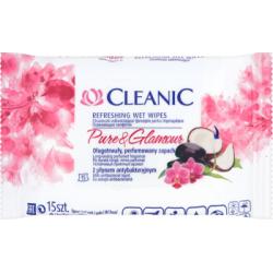 Cleanic Pure and Glamour Chusteczki odświeżające z płynem antybakteryjnym 15 sztuk