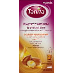Tanita Plastry z woskiem do depilacji bikini z olejem arganowym do skóry suchej i wrażliwej