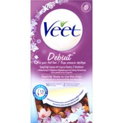 Veet Debiut EasyGrip Łatwe w użyciu plastry z woskiem do skóry wrażliwej 10 plastrów i 2 chusteczki