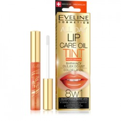 Eveline ALL DAY LIP CARE OIL TINT Barwiący olejek do ust Peach Orange 8w1 7 ml