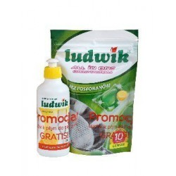 Ludwik Kapsułki do zmywarki All in one Lemon 10szt + Ludwik do naczyń 250g GRATIS!