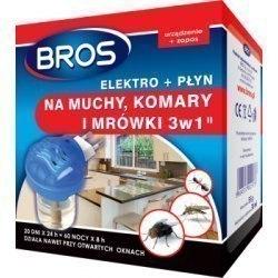 Bros Elektro + płyn na muchy komary i mrówki 3 w 1 30 ml