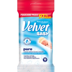 Velvet Baby Pure Hypoalergiczne nawilżane chusteczki dla dzieci i niemowląt 16 sztuk width=