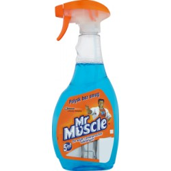 Mr Muscle 5w1 Płyn do szyb z pompką niebieski 500 ml width=
