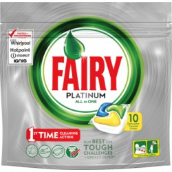 Fairy Platinum Kapsułki do zmywarki All In One Lemon 10 sztuk