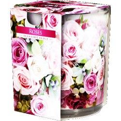 Bispol świeca zapachowa w szkle i folii Róże